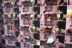 """Interactieve installatie """"Rewind"""", De installatie laat tegelijkertijd 25 bewegende filmpjes zien. Linksboven is het beeld van het heden, het filmpje rechtsonder is 2 minuten later. Hoe verder je naar onder kijkt, hoe verder je terug kijkt in de tijd. Bovendien worden de filmpjes verder terug in de tijd ook nog versneld, vertraagd, en teruggespoeld. Dit geeft een """"stomme film""""-effect."""
