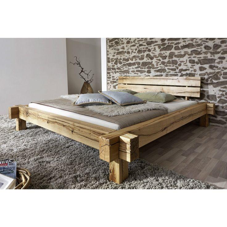 Doppelbett Bett Balkenbett 160x200cm Wildeiche Eiche massiv geölt - schlafzimmer eiche massiv