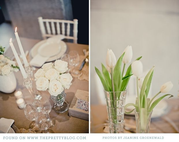 Classic shades of white table decor. Photos Jeanine Groenewald.
