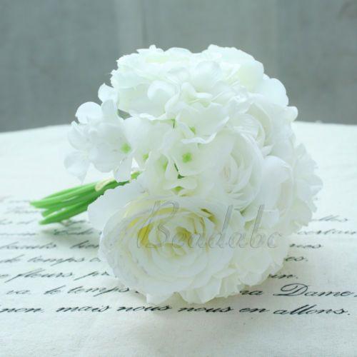 White-Roses-Silk-Flower-Bridal-Bridesmaid-Bouquet-Peony-Hydrangeas-Wedding-Decor