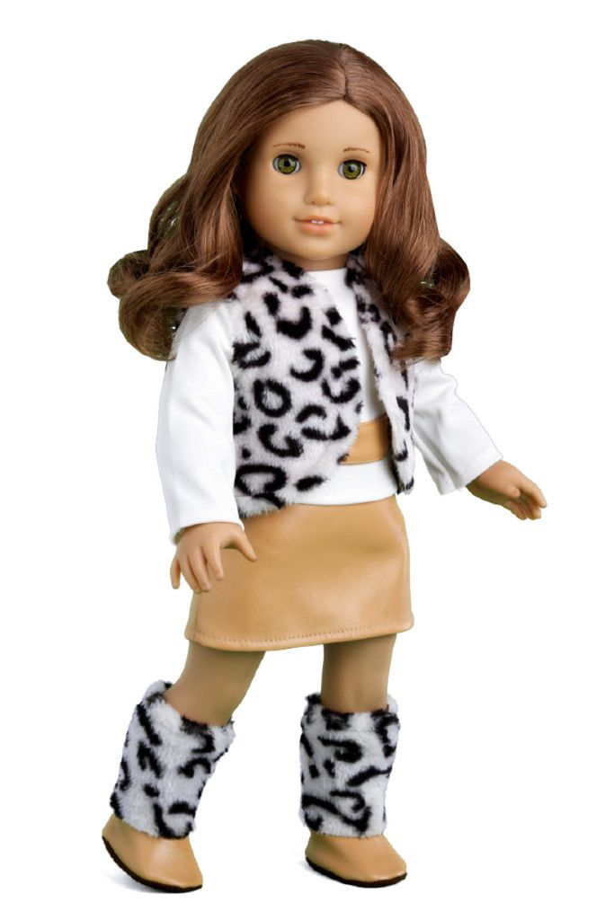 Snow Leopard - Clothes for 18 inch American Girl Doll - Faux Fur Vest, Boots, Skirt, Blouse – Dreamworld Collections