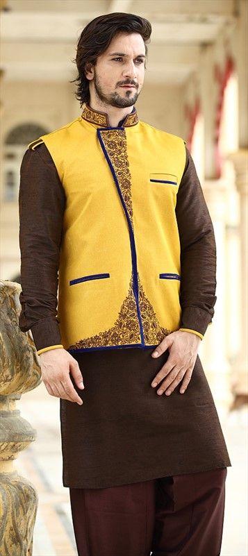 13270, Kurta Pyjama with designer Jacket. #Menswear #Festivewear