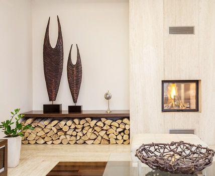 Auch Eine Schne Art Das Brennholz Im Wohnzimmer Zu Lagern