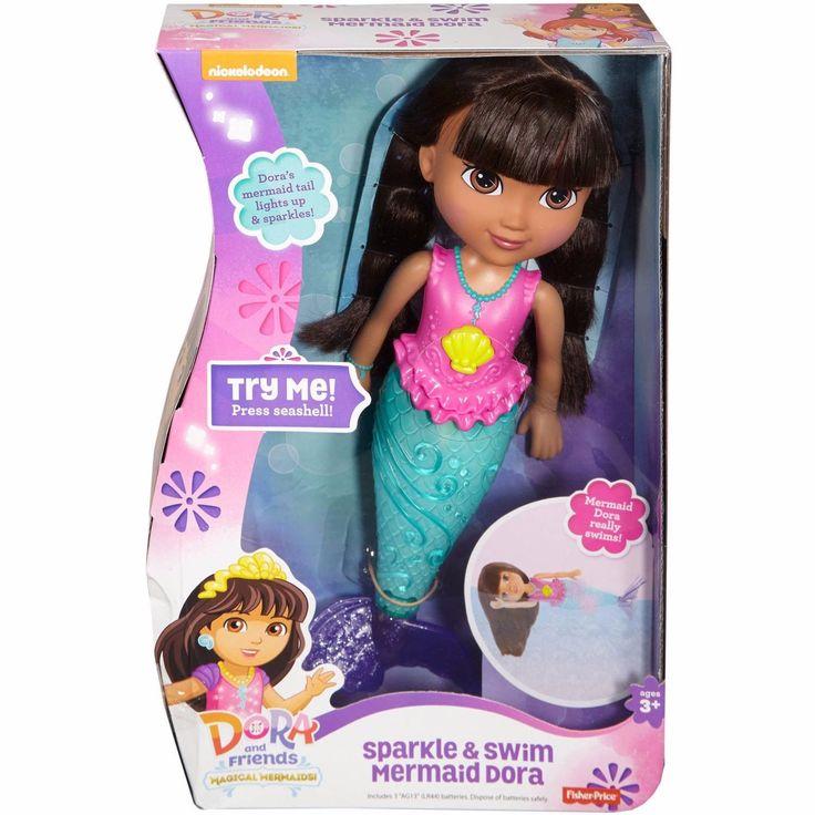 NEW Dora Sparkle & Swim Mermaid Doll  Fisher Price Nickelodeon