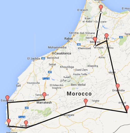 Morcco Road Trip Map The Perfect Moroccan Road Trip ...