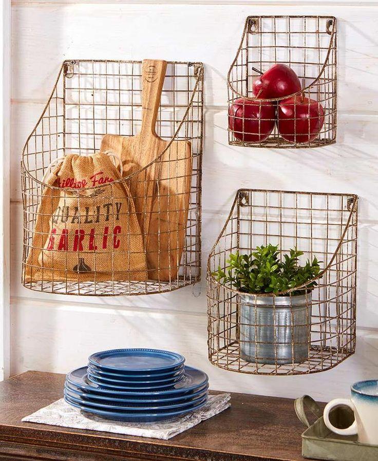 metal hanging basket, rustic farmhouse baskets, storage