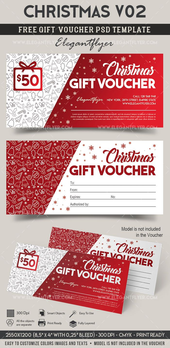 Christmas V02 Free Gift Certificate Psd Template Free Gift Certificate Template Christmas Gift Vouchers Gift Certificate Template