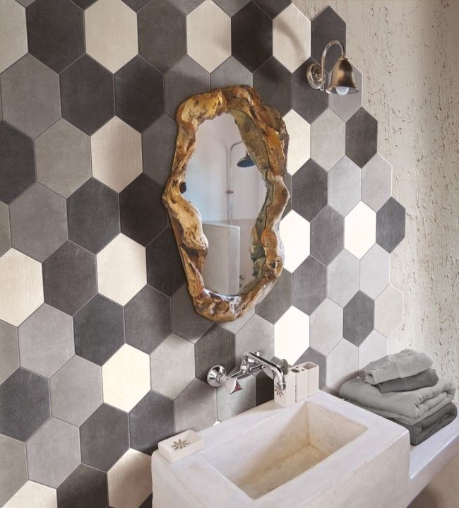 [ Younhyun Tile / 윤현상재 타일 ] Hexagon Tile : Riabita Esagona Mix Industrial , Minimal , Shabby Chic / Size (cm) : 24X27.7
