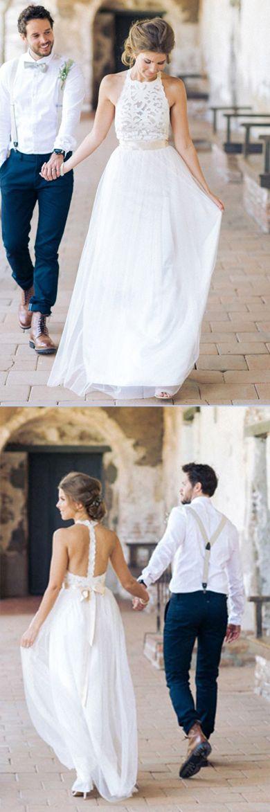 Simple Jewel Sleeveless Long Lace Top White Tulle A-line Wedding Dress Promnova #Jewel #Sleeveless #Longweddingdress #Lace #Tulle