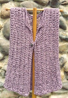 Free Easy Knit Vest Patterns | Swing Vest- Easy-to knit vest is worked in a simple lace pattern. Knit ...