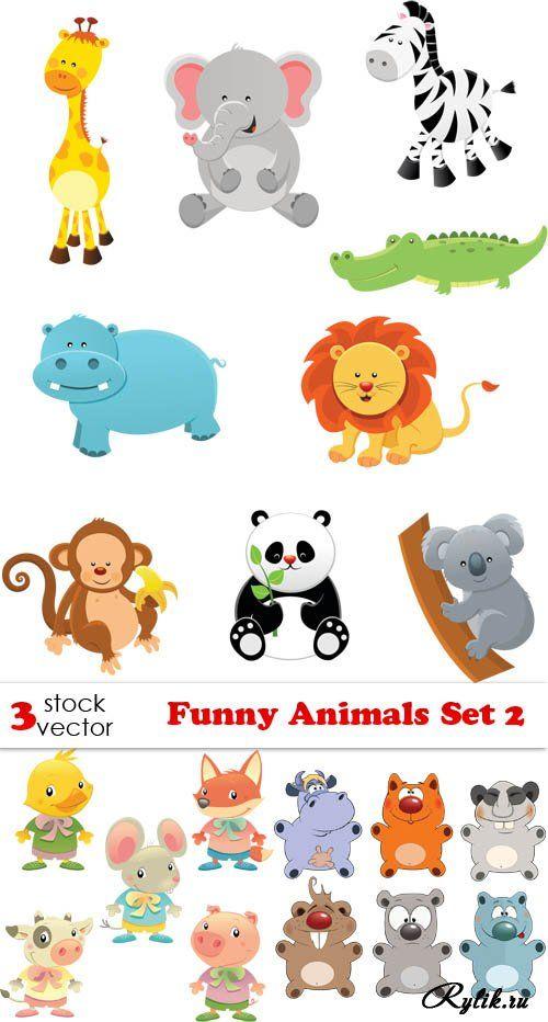 Милые нарисованные животные в векторе - лиса, слон, кот, собака, жираф, медведь