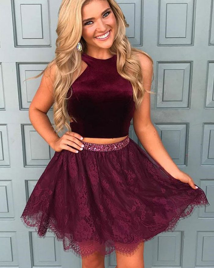 6b76a0328ae Two Piece High Neck Satin Burgundy Homecoming Dress with Lace Skirt ...