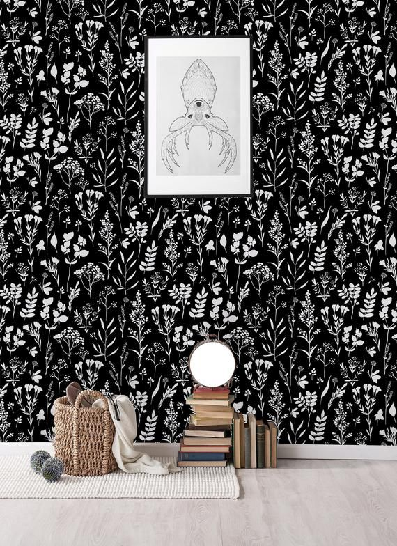 Black Herbs Removable Wallpaper Peel And Stick Wallpaper Wall Etsy Wall Wallpaper Peel And Stick Wallpaper Removable Wallpaper