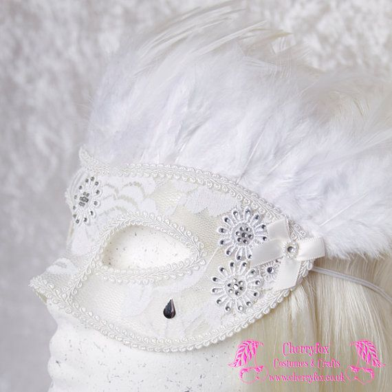 Lace Bridal Mask 'Marie Antoinette' White, Venetian, Feather, Masquerade, Carnival, Wedding, Rhinestone, Fetish, Victorian, Steampunk, Goth