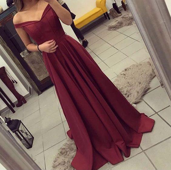 Elegant Burgundy Prom Dress, Off The Shoulder Formal