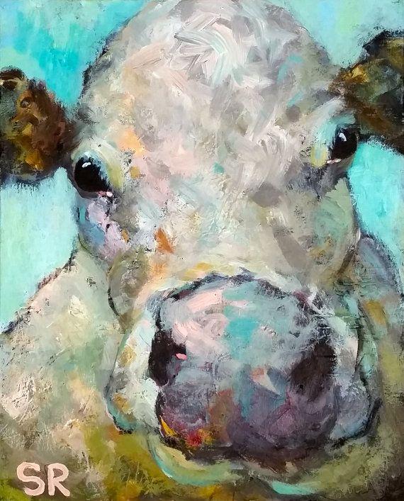 """Grand 20"""" CHAROLAIS vache peinture Farm Animal Art bovins Original moderne Vermont laitiers ciel bleu"""