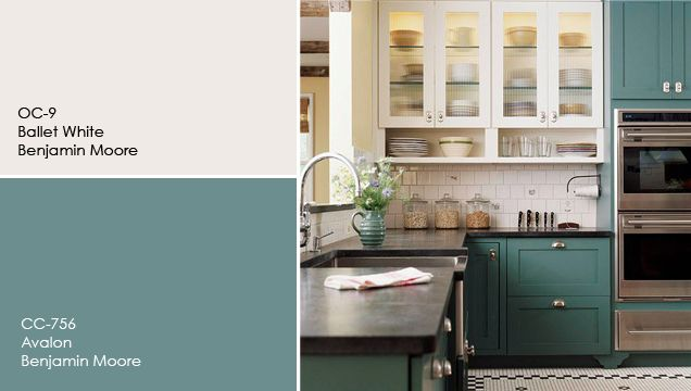 Best 25 benjamin moore cloud white ideas on pinterest for Teal kitchen cabinets