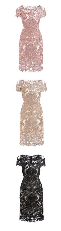 NEED RIGHT NOW !!! No women can resist such a beautiful lace dress ! I just want all of colors ! White Round Neck Short Sleeve Bodycon Lace Dress.I Shein also design more in more color and types !