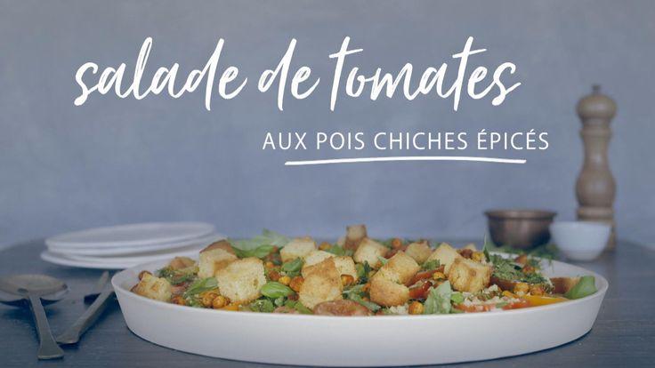 Salade de tomates aux pois chiches épicés