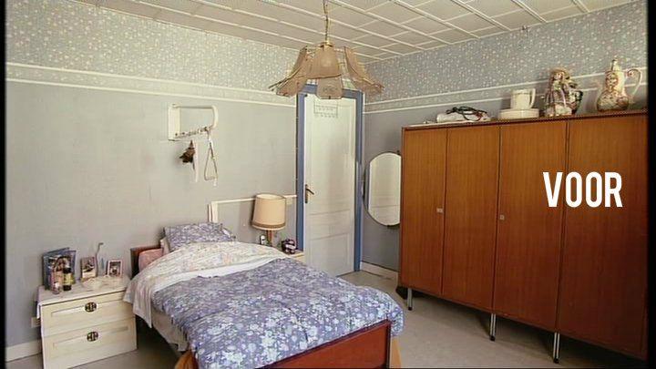 Bouwen aan Geluk - bij Marie-Rose  Slaapkamer VOOR  De slaapkamer van Marie-Rose was ongezellig en had iets van een ziekenhuiskamer. De kasten waren niet makkelijk toegankelijk voor haar. De spullen hangen te hoog en de deurtjes zitten serieus in de weg als je ze open doet.
