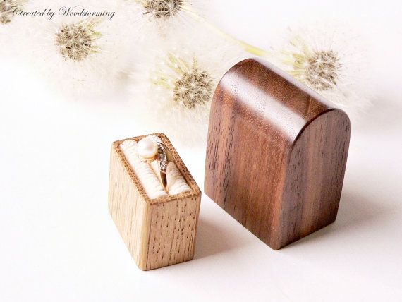 Engagement ring box - original Woodstorming design wooden handmade ring holder - MADE TO ORDER on Etsy, $76.52
