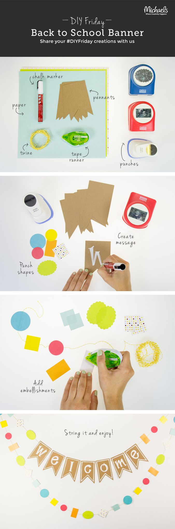 #DIYFriday – 3 easy steps = one fabulous Back to School Banner for the classroom!
