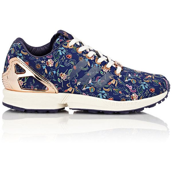 adidas Women's Limited Edt ZX Flux Sneakers (2,245 MXN) ❤ liked on Polyvore featuring shoes, sneakers, blue, leather shoes, flat sneakers, floral shoes, blue leather shoes and leather sneakers