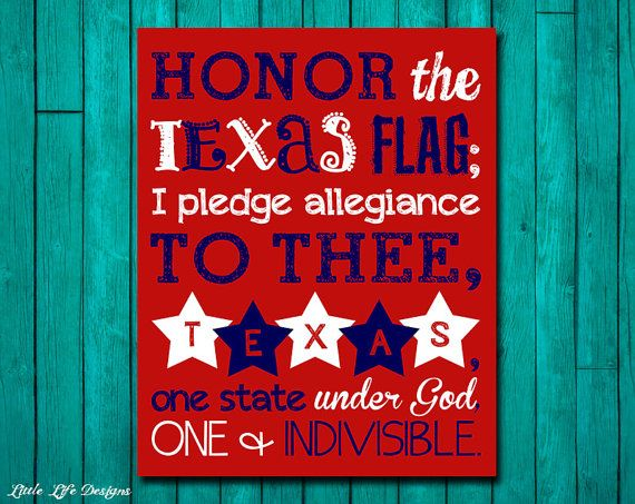 Texas Pledge to the Flag. Pledge of Allegiance by LittleLifeDesigns on Etsy