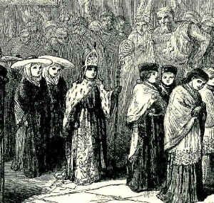 Medieval Ceremony in which a young boy is becoming a Bishop at a very early age for such an important role.