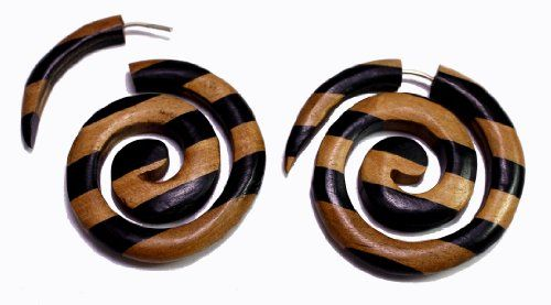A Pair of Brown Black Stripes Spiral Coco Wooden Hippie Earrings Sew_251 Krishna Mart India http://www.amazon.com/dp/B00E59Y2ME/ref=cm_sw_r_pi_dp_2R.xwb1XWRDF9