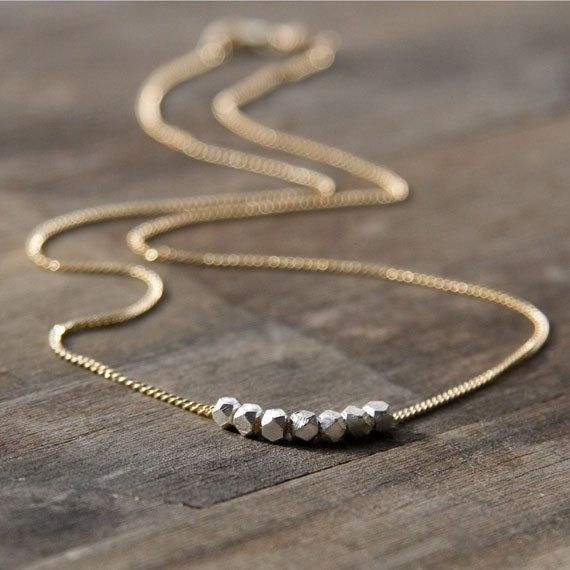 NUGGETS Simple Silver & Gold Necklace Silver Nuggets on by burnish, $33.00