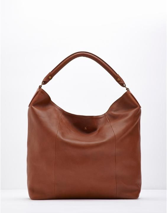 Hampstead Dark Tan Leather Shoulder Bag , Size One Size | Joules UK