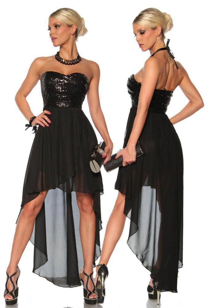 - edles Bandeau-Kleid mit Pailletten - mehrlagiger,weicher Chiffon-Stoff - mit verlängerter Rückenpartie - rückwärtiger Reißverschluss - bitte beachten: Die Größen wurden...