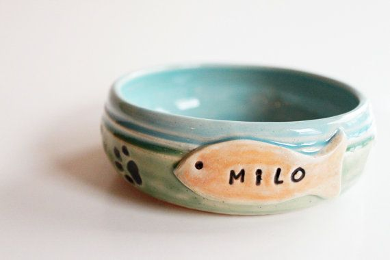 Custom Cat Food Bowl //  Personalized with Name by MissPottery, $25.00