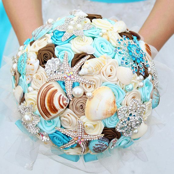 Dreamy ocean bouquet shells crystals starfish by WeddingMemory, $168.00
