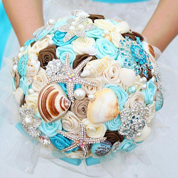 Dreamy ocean bouquet shells crystals starfish by WeddingMemory, $168.00