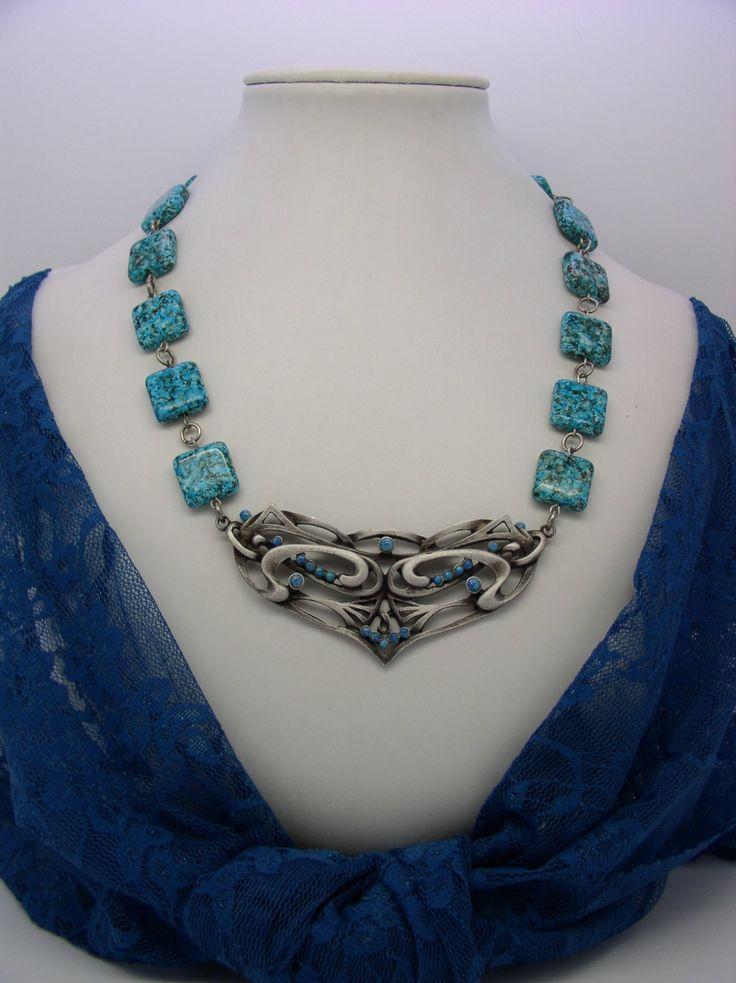 NECK 13 Art Nouveau style necklace by ClassOfGlass on Etsy