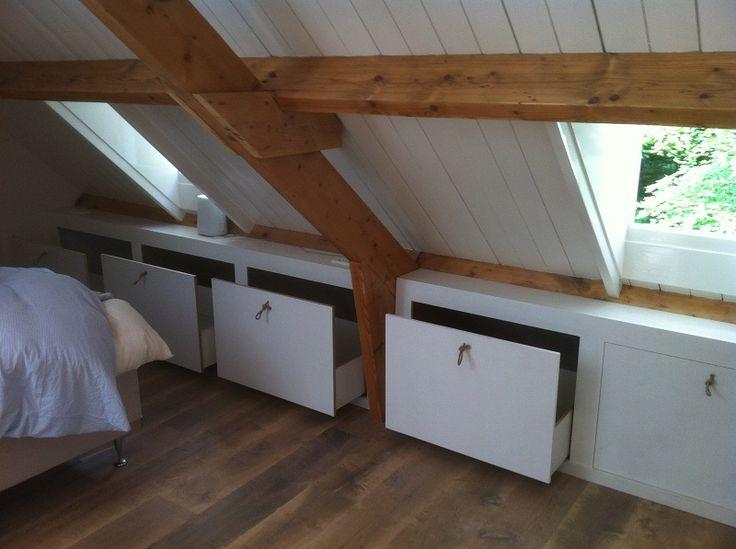 25 beste idee n over zolder kast op pinterest afgewerkte zolder slaapkamer op zolder kasten - Idee kast onder helling ...