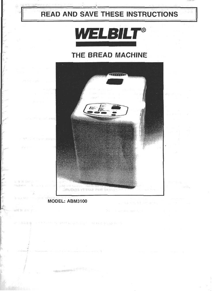 15592226 Welbilt Bread Machine Model Abm3100 Instruction Manual