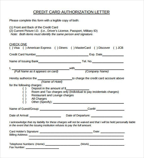 Sample Credit Card Authorization Letter Free Examples Writing