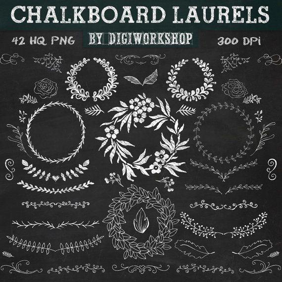 Chalkboard laurels clip art Chalkboard laurels by DigiWorkshop