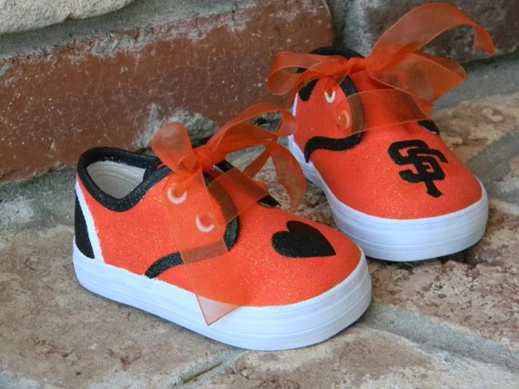 SF Giants baseball shoes by sweetfeetbybrit on Etsy, $40.00