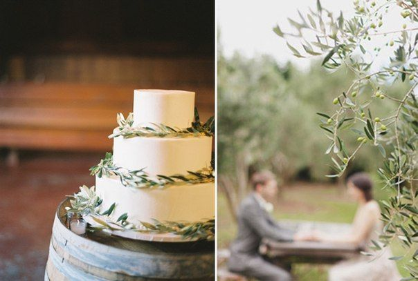 Оливковые ветви в свадебном декоре