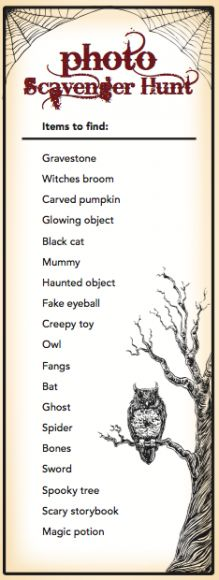Free downloadable Halloween games for your Halloween party including costume hunt, scavenger hunt, scary movie trivia, a photo contest.