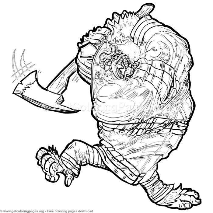 Firefighter Gorilla Swinging Axe Coloring Pages Free Instant