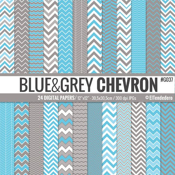 Papeles digitales chevron azules y grises Blue and por eltendedero