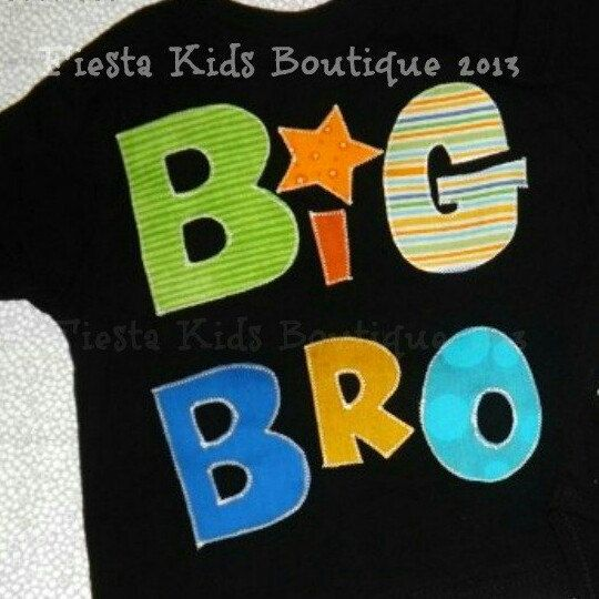 Sibling shirts, Big Bro-Big Sis, other fabric patterns available! Fast turnaround.