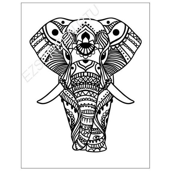 Silk Screen Printing Stencil, Decorated African Elephant, For Polymer Clay, T-Shirts, Ceramic, Tile,