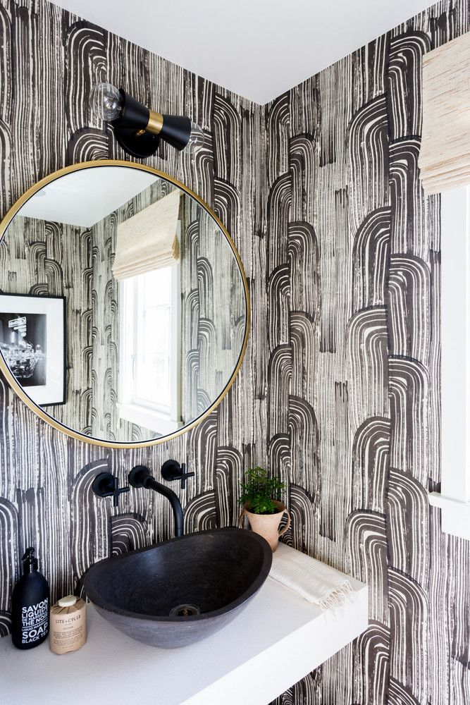 How A Young Couple Infused Their Colorful Personalities Into A Neutral La Home Powder Room Wallpaper Room Decor Decor