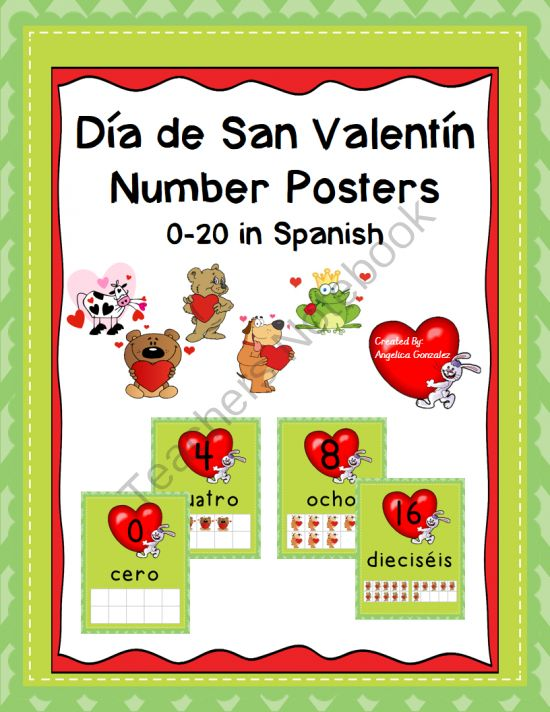 Dia de San Valentin Number Posters 0-20 in Spanish from Angelica'sResources on TeachersNotebook.com -  (26 pages)  - Dia de San Valentin Number Posters with Ten Frames    A mid-year change of scenery is great for students. Surprise your students when they come back from Winter Break with these exciting number posters!Mid Years Change, Ten Frames, Excited Numbers, Valentine Numbers, Two Hundred, San Valentine, Day, Spanish Class, Numbers Posters